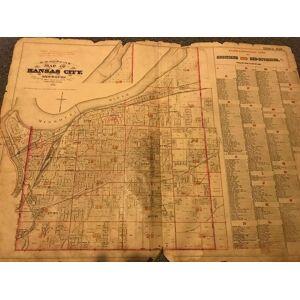 "MAP OF KANSAS CITY MISSOURI, 1886 (""Old Town"") Hopkins, G. M. C. E. [Good]"