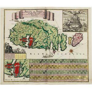Melite vulgo Malta cum vicinis Goza, quæ olim Gaulos, et Comino insulis, uti exhibetur á Nic. De Fer. SEUTTER, Matthäus. [Very Good]