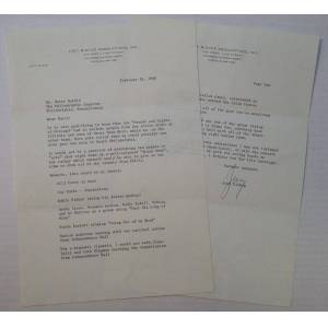 """Chatty Typed Letter Signed """"Joey"""" on personal letterhead BISHOP, Joey (1918 - 2007) [ ]"""