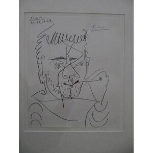 Original-Lithographie. Ohne Titel (Portrait Kahnweiler). Mit Bleistift von Picasso signiert. Picasso, Pablo: [ ]