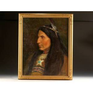 Original oil painting of a Native American WILLIAMS Mary Belle [ ]