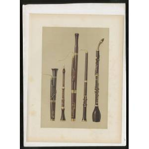 """[Color Lithographic Print]: """"Dolciano, Oboe, Bassoon, Oboe da Caccia, Basset Horn"""" [from] Musical Instruments, Historic, Rare and Unique HIPKINS, Alf"""