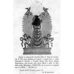 """LORETO. - Andachtsbild. - Berührungsbild. """"Virgo Lauretana"""". Die Muttergottes im Engelreigen, Gesicht und Kind unter einem gesiegelten schwarzen Schl"""