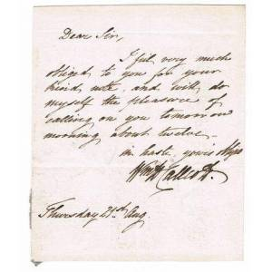AUTOGRAPH LETTER SIGNED by English Composer WILLIAM HUTCHINS CALLCOTT Callcott, William Hutchins. (1807-1882). English composer. [Good]