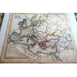 Europe in the Times of Charlemagne (742-814A.D.) Original hand colored map. Williams, W. Engraver. [Very Good]