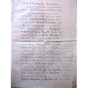 """Araldica, Casa Reale dei Borbone - Manoscritto """"NOTA DI TRASCRIZIONE IPOTECARIA In Rinnovazione di quella Accesa il 15 Novembre 1867 Volume 18 Artico"""