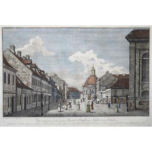 """B """"Vue d'une partie de la Rue dite la Mauer - Strasse avec L'Eglise de la Trinité. Dediée à Son Exellence Monsieur le Baron de Werder, Ministre d'Etâ"""