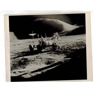 """""""Riding on the Moon"""" Original 8 x 10 B&W Publicity Photograph National Aeronautics and Space Administration (NASA) [Near Fine] [Softcover]"""
