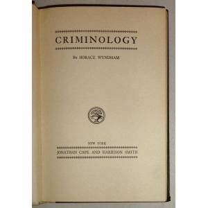 Criminology Wyndham, Horace [Good] [Hardcover]
