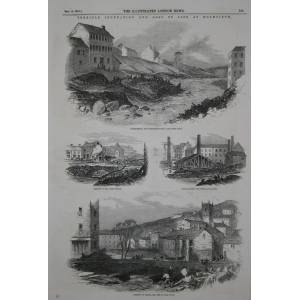 Terrible Inundation and Loss of Life at Holmfirth. 15 interesting engravings, with accompanying text. 1852. Engraving [Very Good]