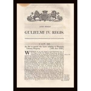 Dramatic Copyright Act 1833 (c.15. 3 & 4 Will. 4). King William IV [Very Good]
