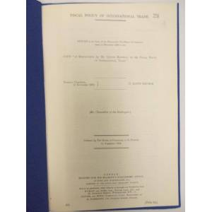 The Fiscal Policy of International Trade. Return to an order of the House of Commons, dated 11 Nov. 1908. London, H.M.S.O. Marshall, Alfred, [Very Go