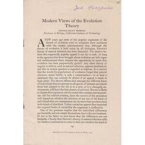 Modern Views of the Evolution Theory Morgan, T.H. Thomas Hunt Morgan [Very Good] [Softcover]