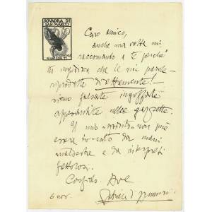 Autograph letter signed. Annunzio, Gabriele d', Italian writer, poet, journalist (1863-1938). [ ]