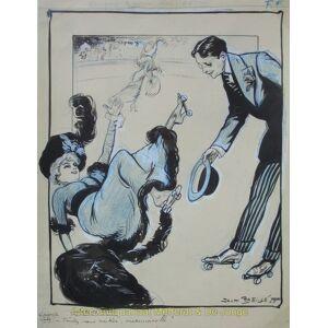 """""""Salade de Saison / Le sport à la mode"""" Gewassen tekening met waterverf, kleurkrijt en dekwit door Jack Abeillà (1873 -') Patinage à roulettes, r"""
