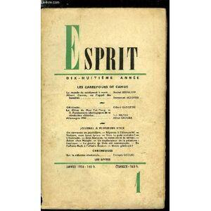 Esprit n° 163 - Les carrefours de Camus - Le monde du condamné a mort par Rachel Bespaloff, Albert Camus, ou l'appel des humiliés par Emmanuel Mounie