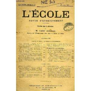 L'ECOLE, REVUE D'ENSEIGNEMENT, DE 1917 A 1943 COLLECTIF [Near Fine] [Softcover]