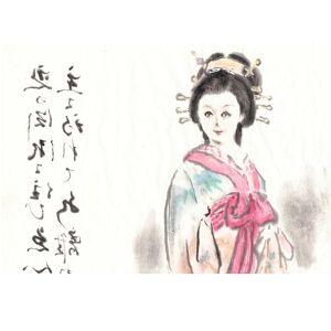Figura femminile giapponese nell'elegante costume (Kimono) in primo piano la