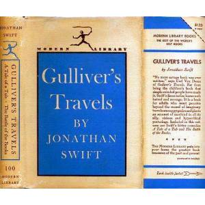 GULLIVER'S TRAVELS plus A TALE OF A TUB and THE BATTLE OF THE BOOKS. ML# 100, Autumn 1948: 334 Titles Listed on Inside of DJ SWIFT, JONATHAN, Written