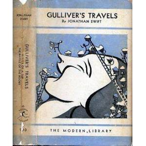 GULLIVER'S TRAVELS plus A TALE OF A TUB and THE BATTLE OF THE BOOKS. ML# 100.2, FIRST MODERN LIBRARY EDITION, 1931; 190 Titles Listed on Inside of DJ