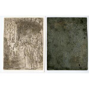 CHURCH INTERIOR-CHRIST-ANNAS-ARMED GUARD 'Untitled' Etienne BOSCH, ca. 1905   [Good]