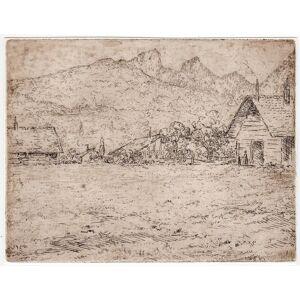 MOUNTAIN LANDSCAPE-VILLAGE-CHURCH 'Untitled' Etienne BOSCH, ca. 1905   [Good]