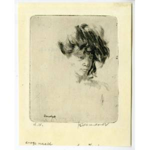 Antique Print-FEMALE BUST WITH HAT-THEO BEERENDONK after own design-20th.c.   [Good]