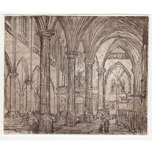 CHURCH INTERIOR-CRUCIFIX 'Untitled' Etienne BOSCH, ca. 1905   [Good]