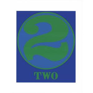 """ROBERT INDIANA Number Two Green and Blue 22"""" x 17"""" Serigraph 1997 Pop Art Blue, Green Indiana, Robert [As New]"""