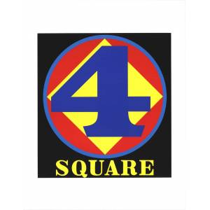 """ROBERT INDIANA Polygon: Square (Number Four) 22"""" x 17"""" Serigraph 1997 Pop Art Blue, Yellow, Red, Black Indiana, Robert [As New]"""