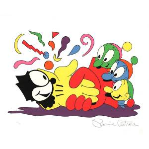 "RONNIE CUTRONE No Glove, No Love SIGNED 32"" x 40"" Serigraph 1988 Pop Art Multicolor Cartoon, Felix, Cat, Comic, Animatio Cutrone, Ronnie [Very Good]"