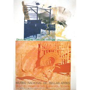 """ROBERT RAUSCHENBERG ROCI: Chile SIGNED 34.5"""" x 24"""" Offset Lithograph 1985 Pop Art Orange, Blue Rauschenberg, Robert [Fine]"""