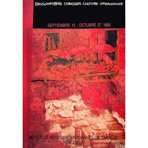 """ROBERT RAUSCHENBERG ROCI: Venezuela SIGNED 34.5"""" x 24"""" Offset Lithograph 1985 Pop Art Red, Black Rauschenberg, Robert [Fine]"""