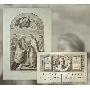 1 grosse Kupferstich-Tafel + 1 Textblatt mit kleinerem Kupferstich. S. Anna con altri Santi tavola in legno di Ridolfo Ghirlandaio in casa del nobile