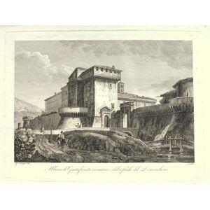 Kupferstich vin Cottafavi. Abbazia di Grottaferrata ove esistono i celebri freschi del Domenichino. Santa Maria in Grottaferrata, Albaner Berge, Coll