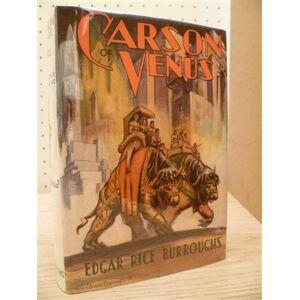 Carson of Venus. Tarzana/Kalifornien, Edgar Rice Burrouhgs Inc., (1939). 1 Bll., 312 S., 1 Bl, 2 w. Bll. m. 6 Abb. auf Taf. Rotgepr. blaue OLwd. (lei