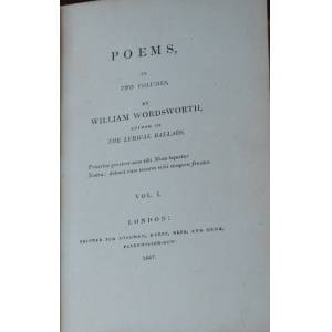 POEMS,; in two volumes by author of The Lyrical Ballads WORDSWORTH, William [ ]