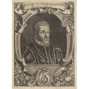 Philipp II., Felipe II. (Valladolid 21. 05. 1527 - 13. 09. 1598 Madrid). König von Spanien, den Niederlanden, Sizilien und Sardinien. Ab 1580 auch al