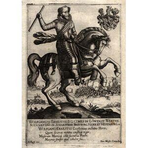 """(05. 08 1578 - 26. 05. 1636). Wolfgang Ernst Graf zu Löwenstein und Wertheim. Reiterportrait mit Wappen, """"Wolfgangus Ernestus D:G: comes in Löwnest:"""