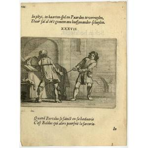 Antique Print-LEGAL CONFLICT-PULLING ROPE-CARD GAME-EMBLEM-37-Savery-Veen-1642   [ ]