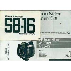 Nikon instruction manuals for the Nikon Speedlight SB-16, AF Zoom-Nikkor 35-70mm f/3.3-4.5, Micro-Nikkor 55mm f/2.8, Nikon AF Nikkor Lenses brochure.