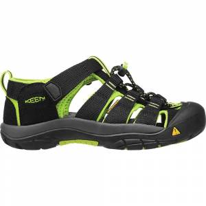 KEEN Kids' Newport H2 Water Sandals with Toe Protection and Quick Dry - 8 - Black / Lime Green