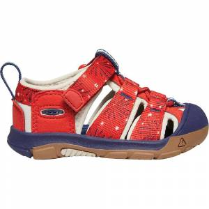 KEEN Kids' Newport H2 Water Sandals with Toe Protection and Quick Dry - 13 - Fiery Red / Blue Depths