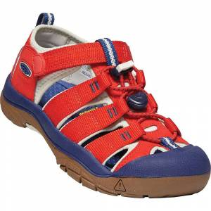 KEEN Kids' Newport H2 Water Sandals with Toe Protection and Quick Dry - 7 - Fiery Red / Blue Depths