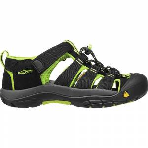 KEEN Youth Newport H2 Water Sandals with Toe Protection and Quick Dry - 1 - Black / Lime Green