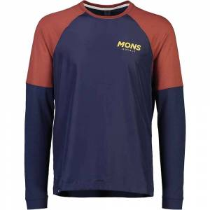 Mons Royale Men's Tarn Freeride LS Wind Jersey - Large - Navy / Chocolate