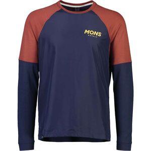 Mons Royale Men's Tarn Freeride LS Wind Jersey - XL - Navy / Chocolate