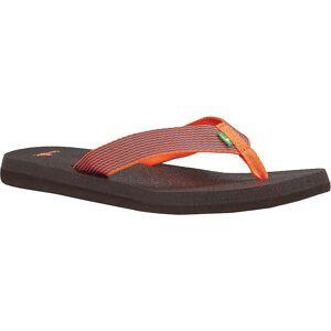 Sanuk Women's Yoga Mat Webbing Sandal - 6 - Hot Coral / Slate Blue