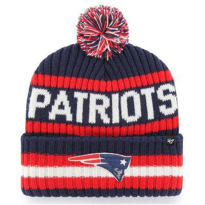 '47 New England Patriots '47 Bering Cuffed Knit Hat with Pom - Navy