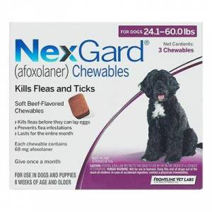 Nexgard Chewables for Large Dogs 24.1-60 lbs (Purple) 68mg - 6 Chews